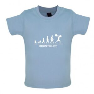 Born to Lift Baby T Shirt, Dusty Blue