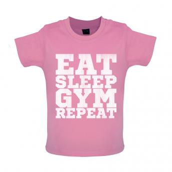 Eat Sleep Gym Repeat Baby Tshirt, Bubblegum Pink
