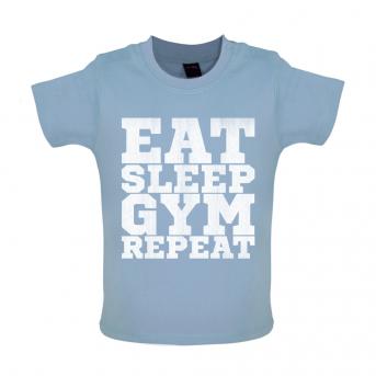Eat Sleep Gym Repeat Baby Tshirt, Dusty Blue