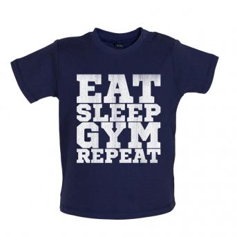 Eat Sleep Gym Repeat Baby Tshirt, Nautical Navy