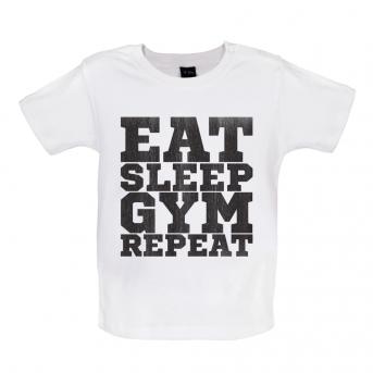 Eat Sleep Gym Repeat Baby Tshirt, White