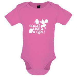 Squat like a girl baby bodysuit, Bubblegum pink