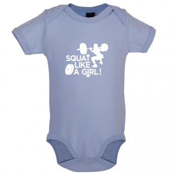 Squat like a girl baby bodysuit, Dusty Blue