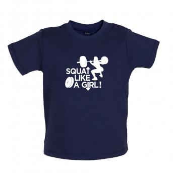 Squat like a girl baby t-shirt, Nautical Navy