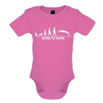 Born To Swim Baby Bodysuit, Bubblegum Pink