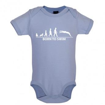 Born To Swim Baby Bodysuit, Dusty Blue
