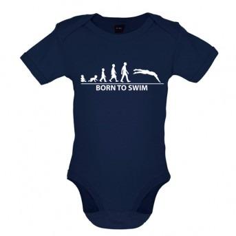 Born To Swim Baby Bodysuit, Nautical Navy
