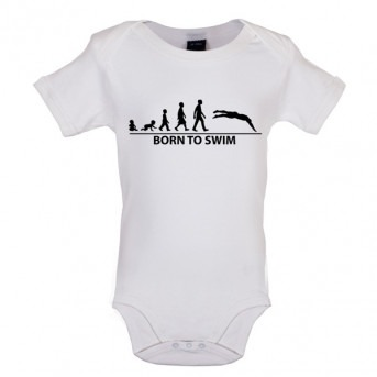 Born To Swim Baby Bodysuit, White