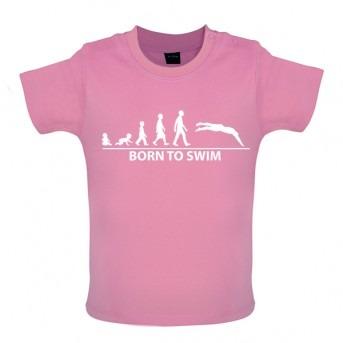 Born To Swim Baby T-Shirt, Bubblegum Pink